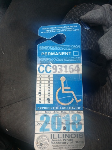 Taped up parking card